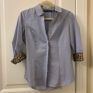 WORN ONCE blue stripe/leopard blouse